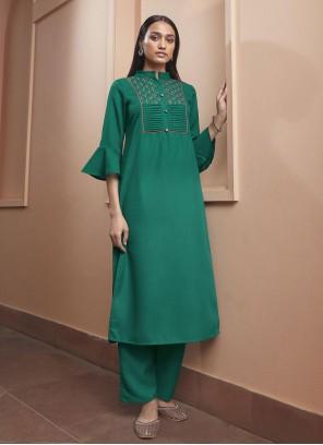 Green Fancy Fabric Festival Party Wear Kurti