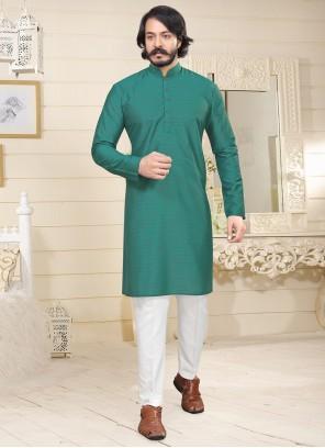 Green Fancy Fabric Mehndi Kurta Pyjama