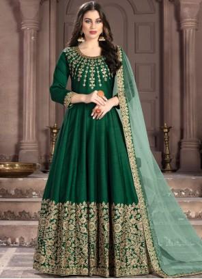 Green Fancy Fabric Resham Anarkali Suit