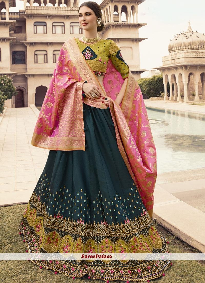 081a0adac1 Buy Green Fancy Fabric Wedding Designer Lehenga Choli Online