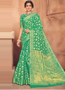 Green Fancy Faux Chiffon Designer Traditional Saree