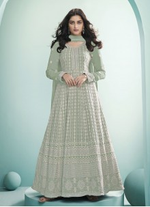 Green Fancy Faux Georgette Floor Length Anarkali Suit