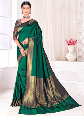 Green Fancy Festival Traditional Designer Saree