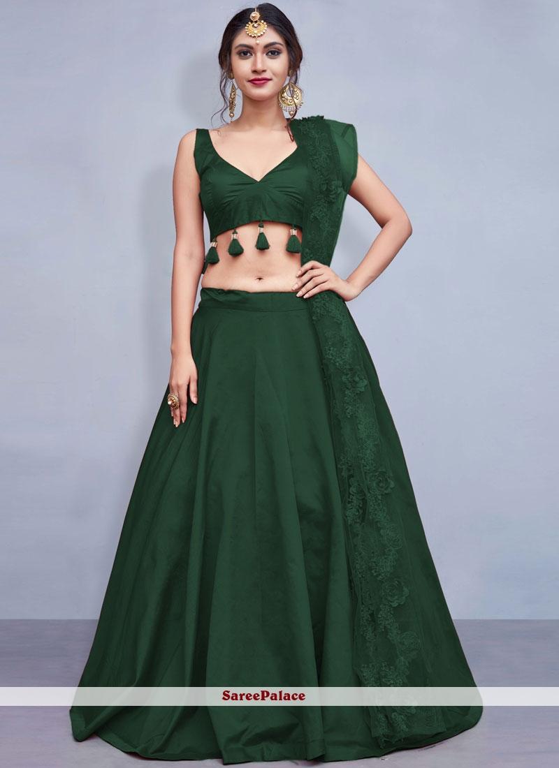 Green Fancy Mehndi Readymade Lehenga Choli