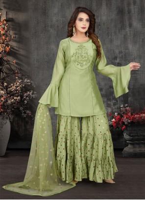 Green Fancy Sangeet Readymade Suit