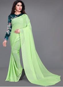 Green Fancy Work Faux Georgette Saree