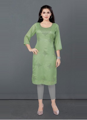 Green Fancy Silk Designer Kurti