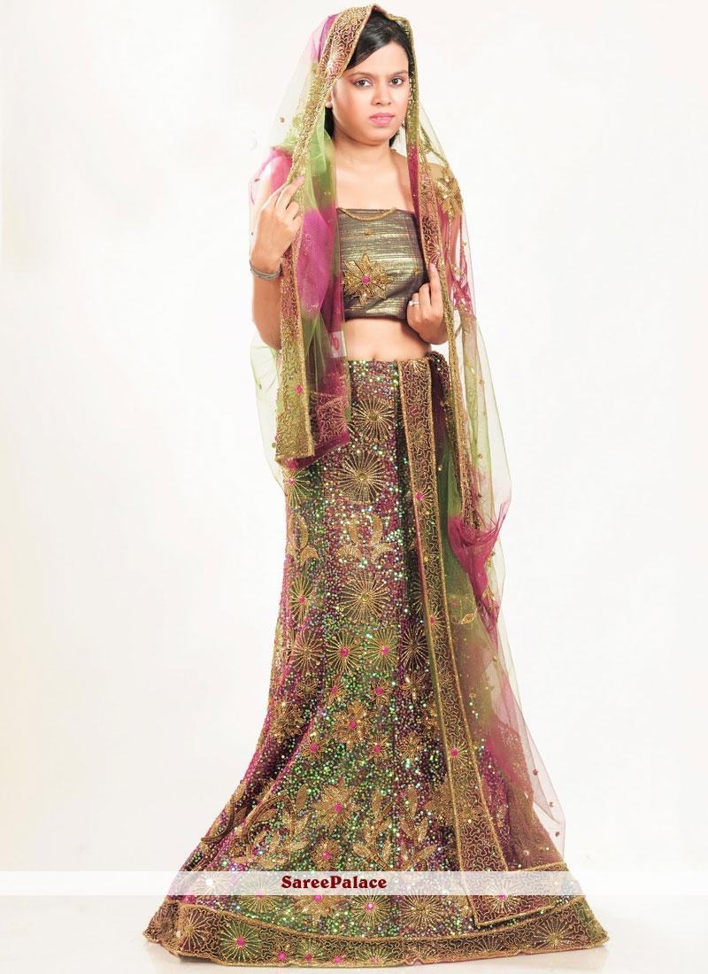 5a70c52e2a Buy Green Fancy Wedding Lehenga Choli Online
