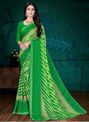 Green Faux Chiffon Casual Printed Saree