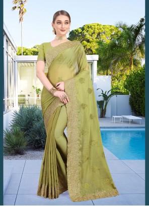 Green Faux Chiffon Classic Designer Saree