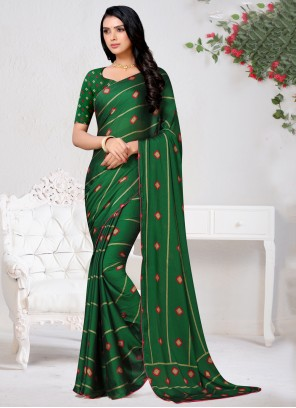 Green Faux Chiffon Designer Saree