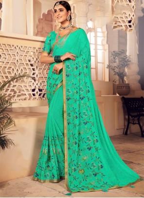 Green Faux Chiffon Embroidered Designer Saree
