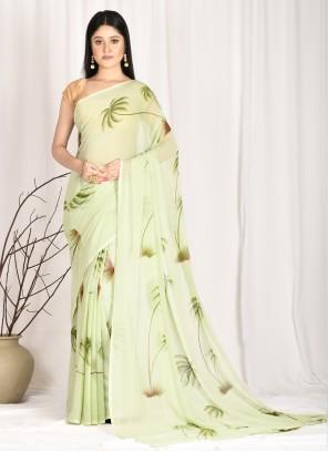 Green Faux Chiffon Festival Printed Saree