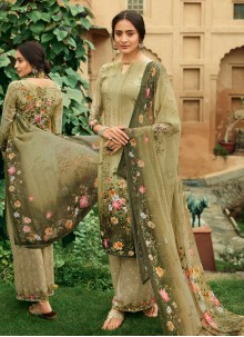 Green Faux Crepe Digital Print Palazzo Salwar Suit
