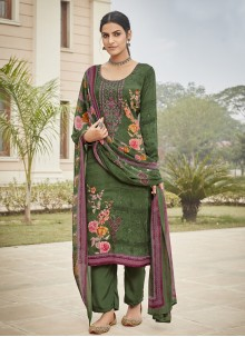Green Faux Crepe Embroidered Designer Palazzo Salwar Suit