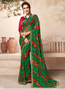 Green Faux Georgette Abstract Print Casual Saree