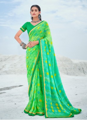 Green Faux Georgette Abstract Print Shaded Saree