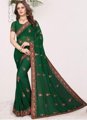 Green Faux Georgette Ceremonial Classic Designer Saree
