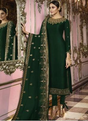 Green Faux Georgette Churidar Salwar Kameez