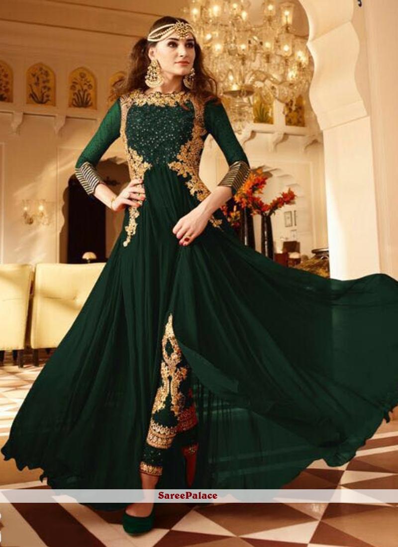 Green Faux Georgette Designer Floor Length Suit