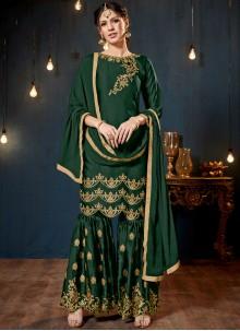 Green Faux Georgette Designer Pakistani Suit