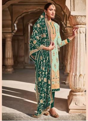 Green Faux Georgette Designer Straight Suit