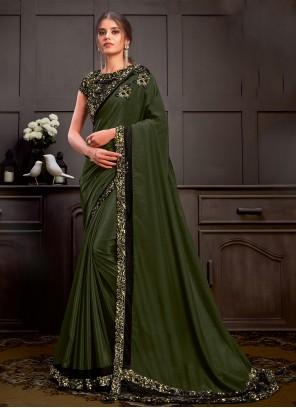 Green Faux Georgette Embroidered Designer Saree