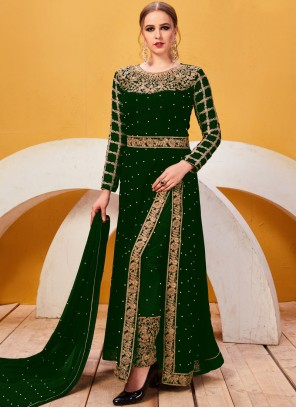Green Faux Georgette Embroidered Pant Style Suit