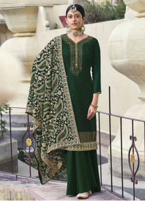Green Faux Georgette Engagement Designer Palazzo Salwar Suit