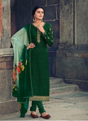 Green Faux Georgette Festival Designer Straight Salwar Suit