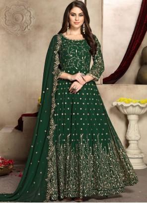 Green Faux Georgette Reception Anarkali Salwar Kameez