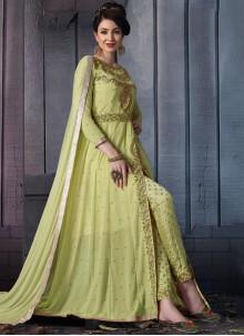 Green Faux Georgette Resham Pant Style Suit