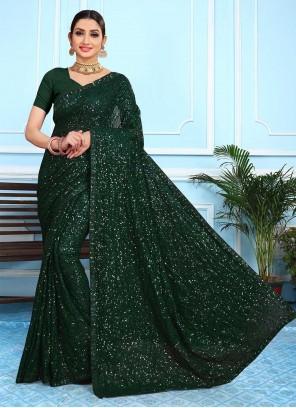 Green Faux Georgette Sequins Designer Saree