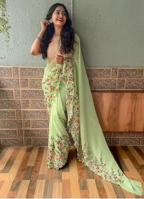 Green Faux Georgette Sequins Trendy Saree