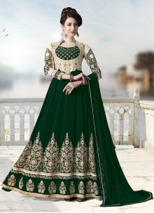 Green Faux Georgette Trendy Anarkali Salwar Suit