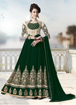 Green Faux Georgette Trendy Anarkali Salwar Suit