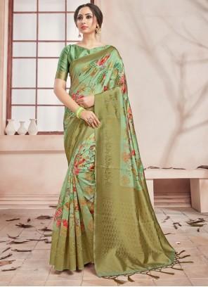 Green Festival Art Banarasi Silk Printed Saree