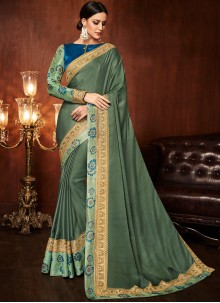 Green Festival Art Silk Designer Traditional Saree