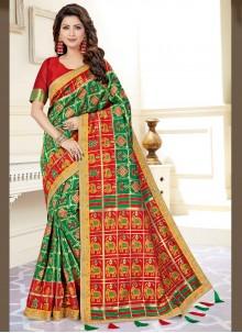 Green Festival Art Silk Traditional Saree