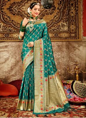 Green Festival Banarasi Silk Traditional Designer Saree