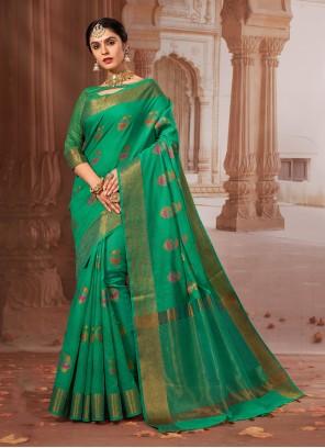 Green Festival Chanderi Cotton Classic Designer Saree
