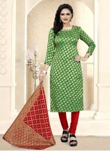 Green Festival Churidar Suit