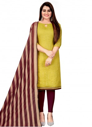 Green Embroidered Chanderi Festival Churidar Suit