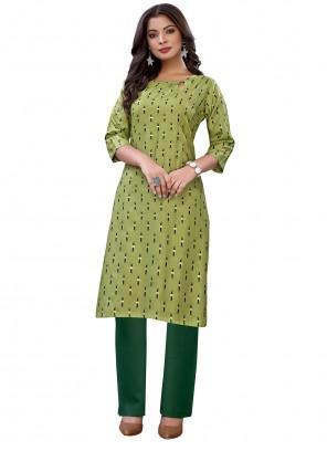 Green Festival Cotton Casual Kurti