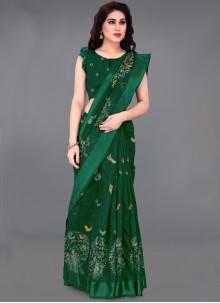 Green Festival Cotton Contemporary Saree