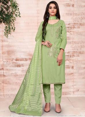 Green Festival Cotton Pant Style Suit