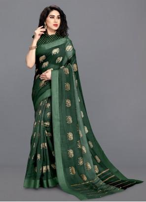 Green Festival Cotton Printed Saree