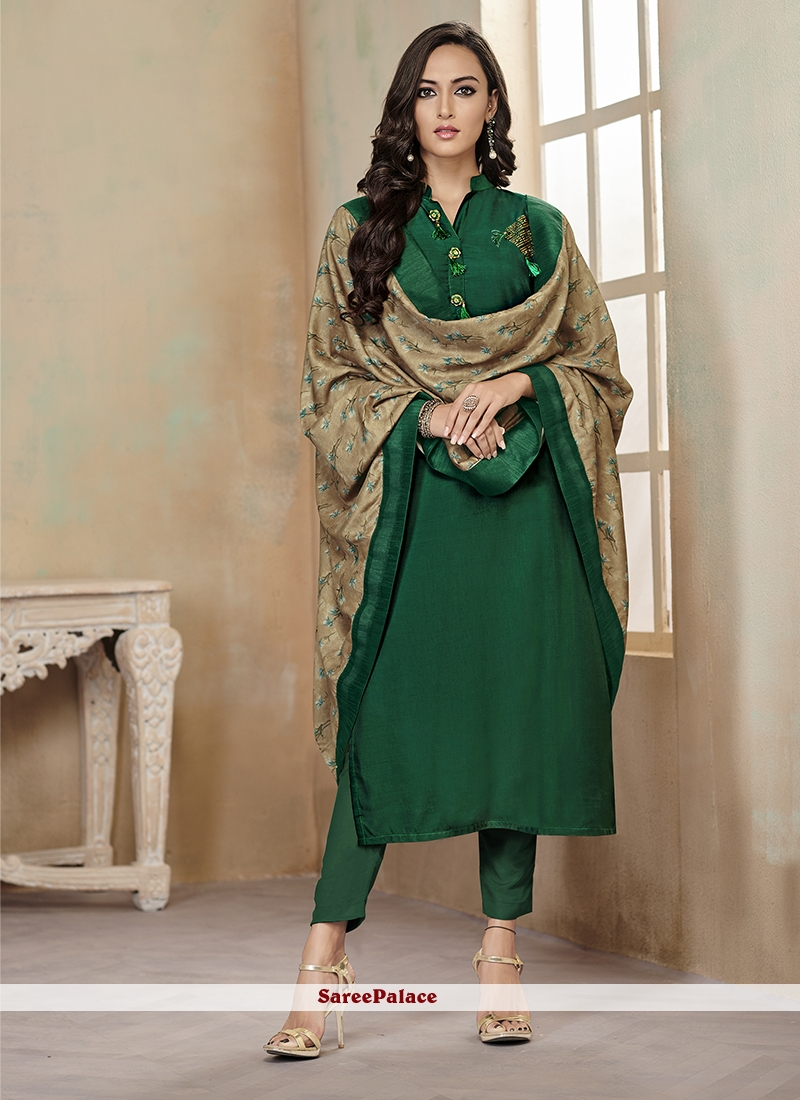 Green Festival Cotton Readymade Suit