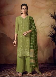Green Festival Designer Palazzo Salwar Kameez