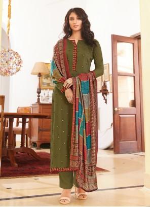 Green Festival Designer Straight Salwar Suit